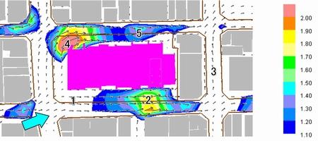 0方程式モデルの計算結果、タワーマンションでのビル風解析例