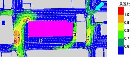 ケー・イプシロン(k-ε)2方程式モデルの計算結果、タワーマンションでのビル風解析例