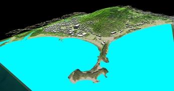 神奈川県三浦市、三浦半島西岸の海辺地方で、1.2km四方、標高差が145mの三次元気流解析モデル作成の図2