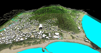 神奈川県三浦市、三浦半島西岸の海辺地方で、1.2km四方、標高差が145mの三次元気流解析モデル作成の図3