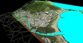 神奈川県三浦市、三浦半島西岸の海辺地方で、1.2km四方、標高差が145mの三次元気流解析モデル作成の図4