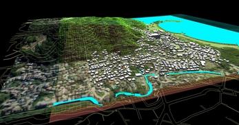 神奈川県三浦市、三浦半島西岸の海辺地方で、1.2km四方、標高差が145mの三次元気流解析モデル作成の図5