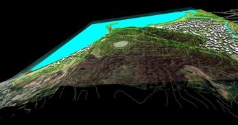 神奈川県三浦市、三浦半島西岸の海辺地方で、1.2km四方、標高差が145mの三次元気流解析モデル作成の図6