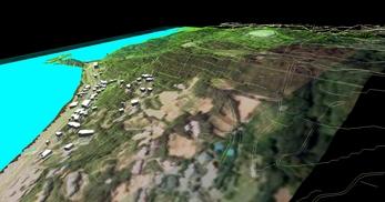 神奈川県三浦市、三浦半島西岸の海辺地方で、1.2km四方、標高差が145mの三次元気流解析モデル作成の図7