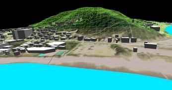 神奈川県三浦市、三浦半島西岸の海辺地方で、1.2km四方、標高差が145mの三次元気流解析モデル作成の図8