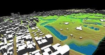 東京都心部(千代田区)での広さが2.2km×2.1km、標高差が35mあるエリアでのモデル作成の図2