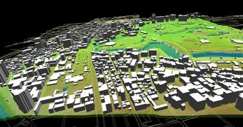 東京都心部(千代田区)での広さが2.2km×2.1km、標高差が35mあるエリアでのモデル作成の図3