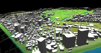 東京都心部(千代田区)での広さが2.2km×2.1km、標高差が35mあるエリアでのモデル作成の図4