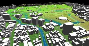 東京都心部(千代田区)での広さが2.2km×2.1km、標高差が35mあるエリアでのモデル作成の図5