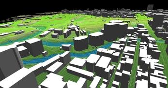 東京都心部(千代田区)での広さが2.2km×2.1km、標高差が35mあるエリアでのモデル作成の図6