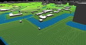 東京都心部(千代田区)での広さが2.2km×2.1km、標高差が35mあるエリアでのモデル作成の図8