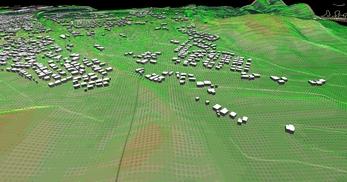 盛岡市北部の丘陵地で、広さが2×1.8km、標高差が110mあるエリアでの三次元気流解析モデル作成の図2
