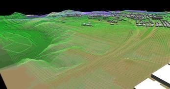 盛岡市北部の丘陵地で、広さが2×1.8km、標高差が110mあるエリアでの三次元気流解析モデル作成の図23