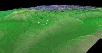 盛岡市北部の丘陵地で、広さが2×1.8km、標高差が110mあるエリアでの三次元気流解析モデル作成の図4