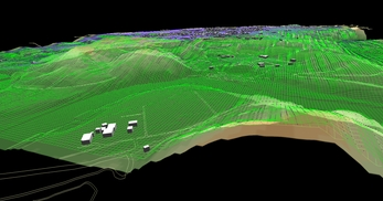 盛岡市北部の丘陵地で、広さが2×1.8km、標高差が110mあるエリアでの三次元気流解析モデル作成の図5