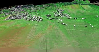 盛岡市北部の丘陵地で、広さが2×1.8km、標高差が110mあるエリアでの3次元気流解析モデル作成の図7