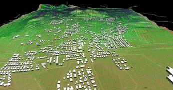 盛岡市北部の丘陵地で、広さが2×1.8km、標高差が110mあるエリアでの3次元気流解析モデル作成の図8