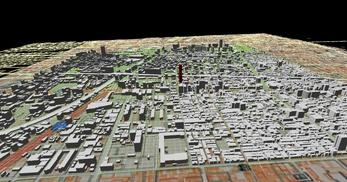 大阪市南部市街地での1.7km四方エリアでのモデル作成の図3