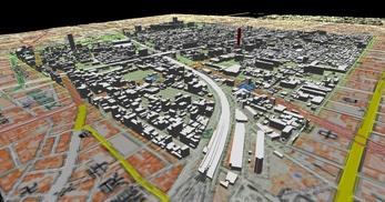 大阪市南部市街地での1.7km四方エリアでのモデル作成の図4