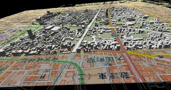大阪市南部市街地での1.7km四方エリアでのモデル作成の図5