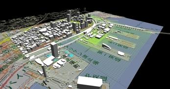 神戸市南部港地区での1.5km×1.3kmエリアでのモデル作成の図2