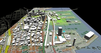 神戸市南部港地区での1.5km×1.3kmエリアでのモデル作成の図3