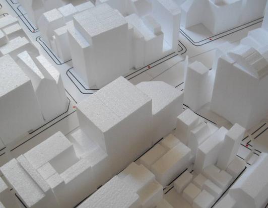風洞実験(市街地)模型の拡大図
